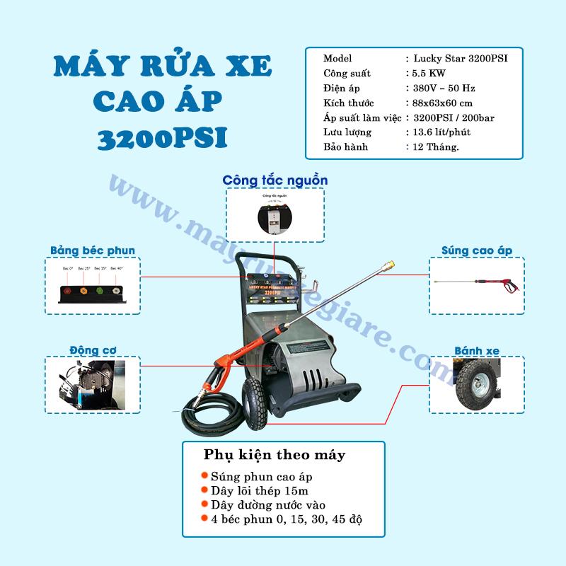 máy rửa xe ô tô 3 pha 3200 PSI